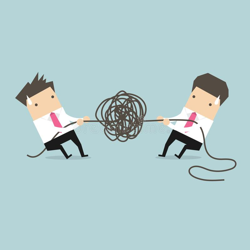 Businessman trying to unravel tangled rope or cable. Vector illustration vector illustration