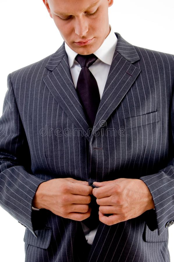 Download Businessman Tucking His Coat Button Stock Image - Image of alone, young: 8407543