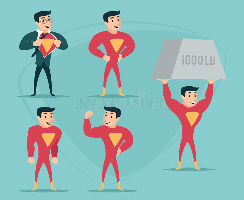 Businessman Turns in Superhero Suit under Shirt Happy Smiling Icon on Stylish Background Retro Cartoon Design Vector. Businessman Turns Superhero Suit under royalty free illustration