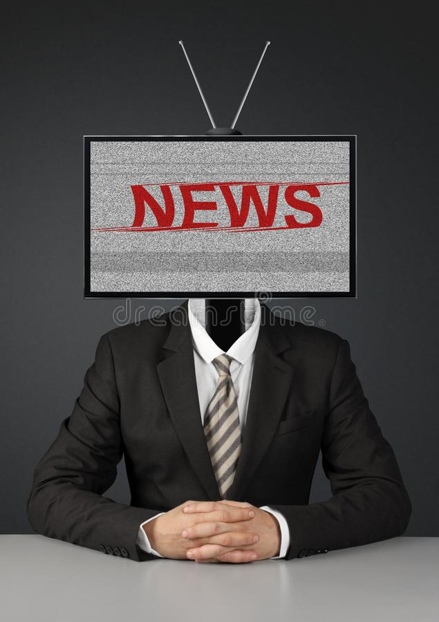 Businessman with tv head, mass media propaganda concept. Man with tv head, mass media propaganda concept stock image