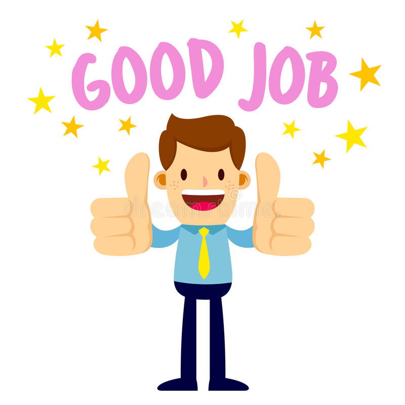 Businessman With Two Thumbs Up Saying Good Job vector illustration