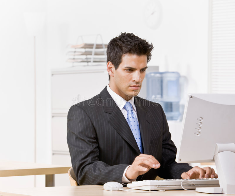 Download Businessman Typing On Computer Stock Image - Image: 6600997