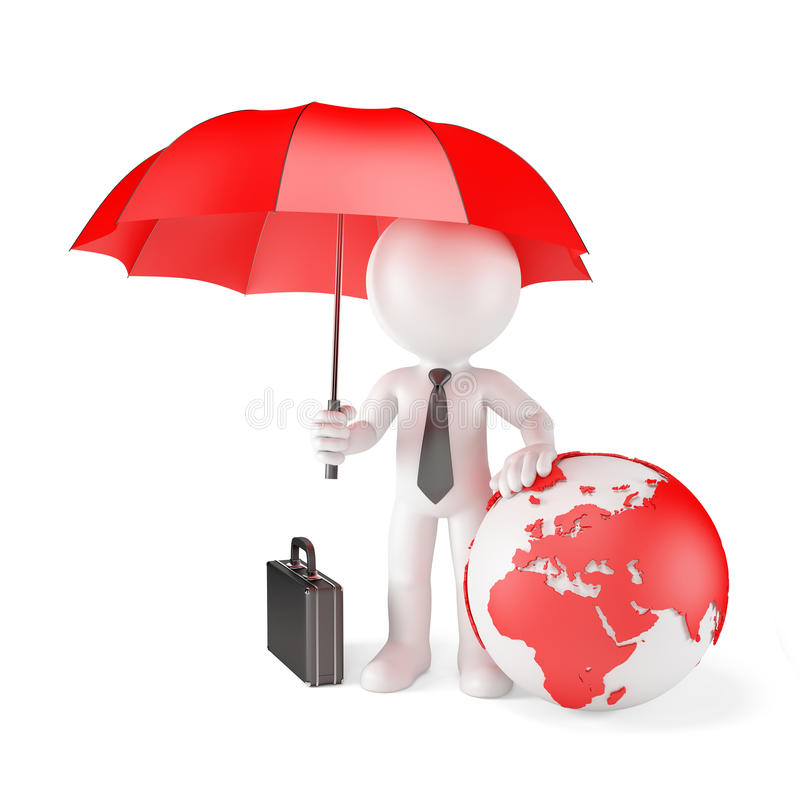 Businessman with Umbrella and earth globe. Global protection concept. Isolated vector illustration