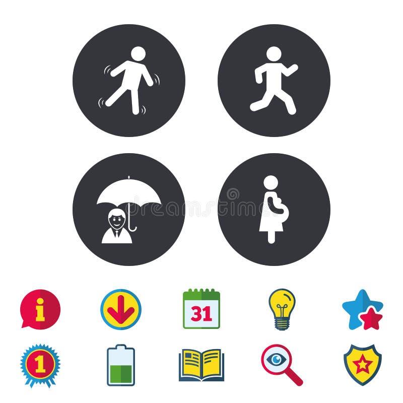 Businessman with umbrella. Human running symbol. Businessman with umbrella icon. Human running symbol. Man love Woman or Lovers sign. Women Pregnancy. Life stock illustration