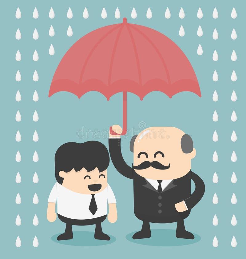 Businessman with umbrella royalty free illustration