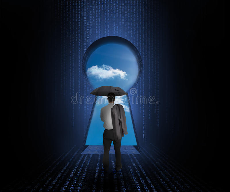 Download Businessman With Umbrella Looking At Sky Stock Illustration - Image: 32518117