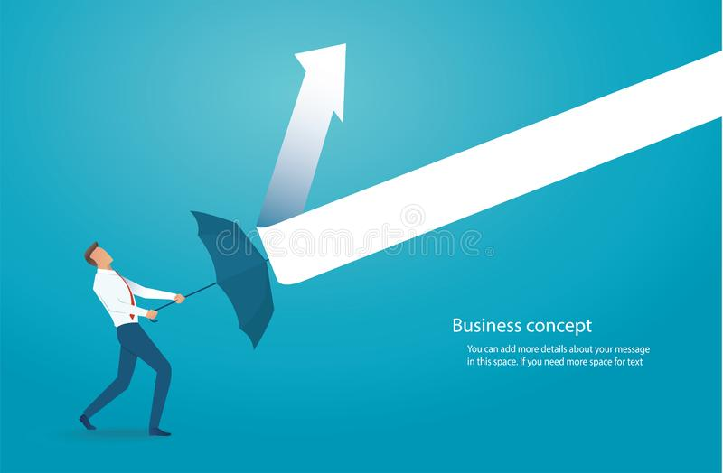 Businessman with umbrella protecting himself from drawn arrows vector illustration royalty free illustration