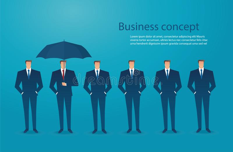 Businessman with umbrella protection concept background vector illustration eps10 stock illustration
