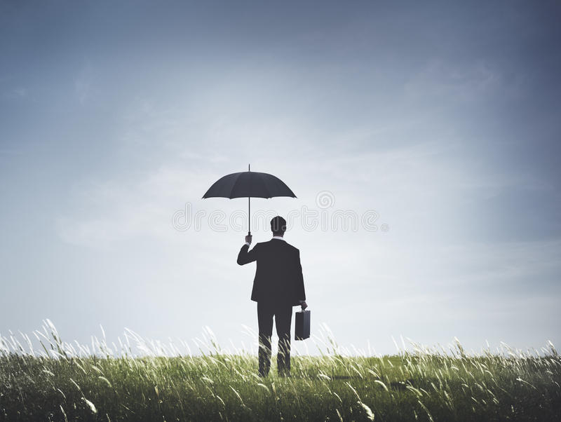 Businessman Umbrella Protection Risk Freedom Concept stock photos
