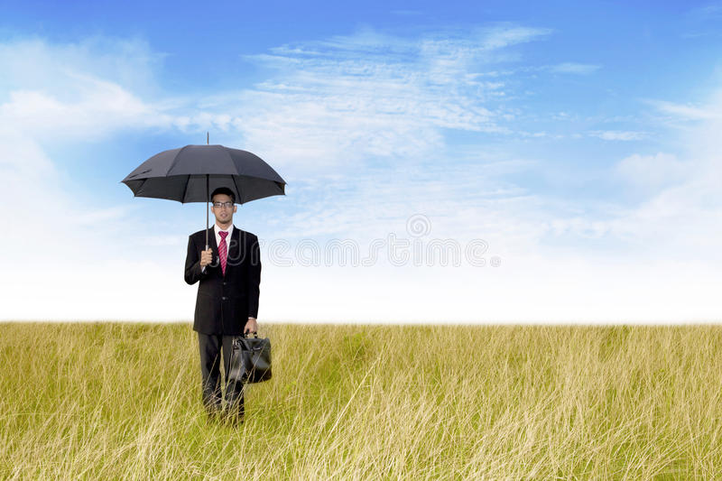 Download Businessman With Umbrella Shot Outdoor Stock Image - Image: 24064701