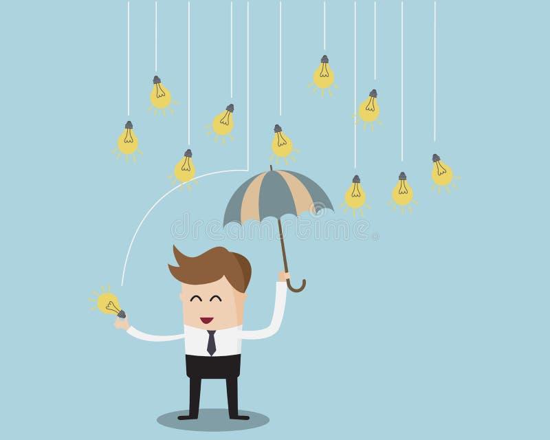 Businessman under Umbrella and rain bulb Idea. Cartoon Vector Illustration royalty free illustration