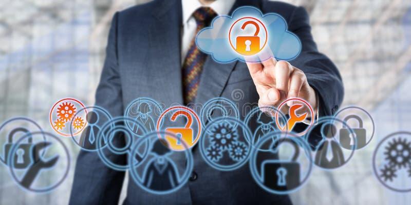 Businessman Unlocking Access To Managed Services. Man unlocking access to managed services by touch. Information technology concept involving enterprise IT