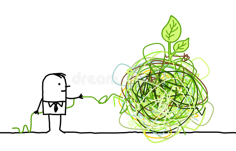 Download Businessman Untangling A Green Knot Stock Vector - Illustration of drawn, concept: 18835940