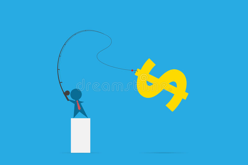 Businessman use fishing rod to get dollar symbol, idea and business concept vector illustration