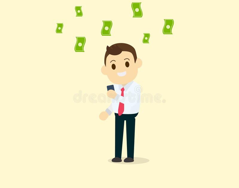 Businessman use smart phone getting income benefit. And make a lot of money vector illustrator vector illustration