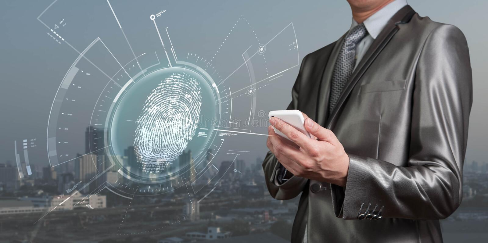 Businessman use smartphone scan for finger prints, new generation of technology stock images
