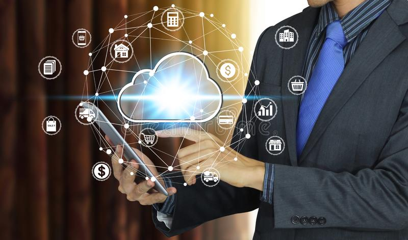 Businessman use tablet with cloud computing icon technology, Cyber Security Data Protection royalty free stock photos