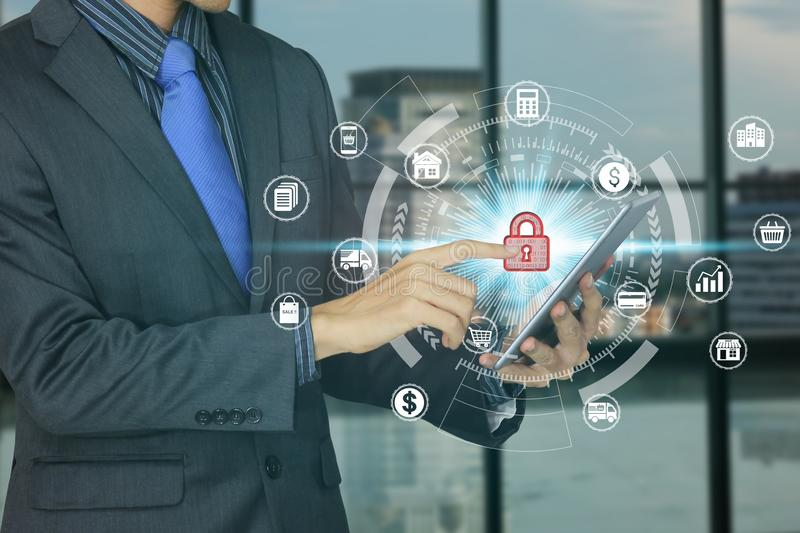 Businessman use tablet with padlock icon technology, Cyber Security Data Protection stock image