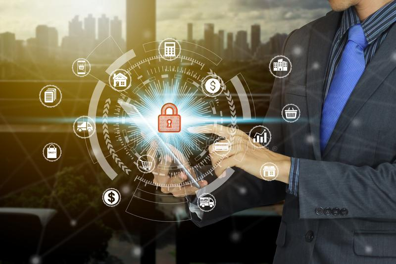 Businessman use tablet with padlock icon technology, Cyber Security Data Protection royalty free stock images