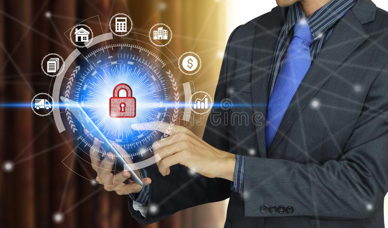 Businessman use tablet with padlock icon technology, Cyber Security Data Protection stock photos