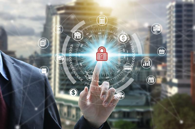 Businessman use tablet with padlock icon technology, Cyber Security Data Protection royalty free stock photo