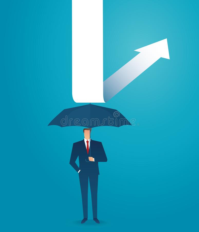 Businessman use umbrella to protecting arrow down vector illustration eps10 stock illustration