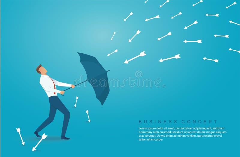 Businessman use umbrella to protecting arrow down vector illustration eps10 royalty free illustration