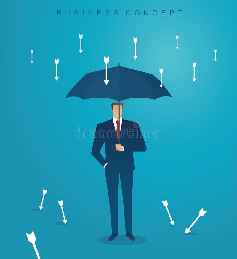 Businessman use umbrella to protecting arrow down vector illustration eps10 vector illustration
