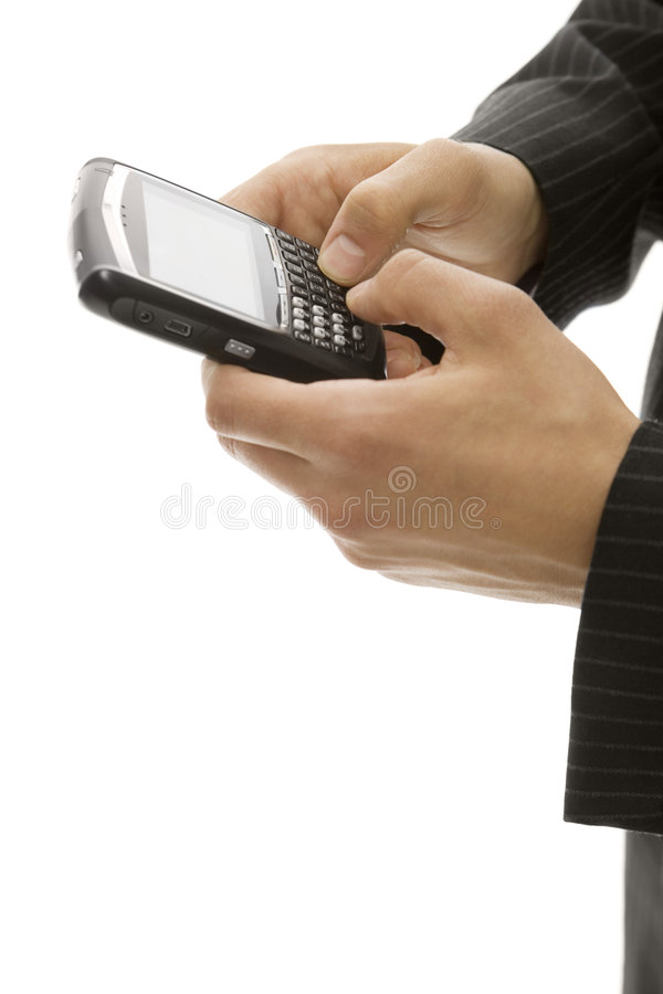 Businessman Uses Cell Phone Stock Photography