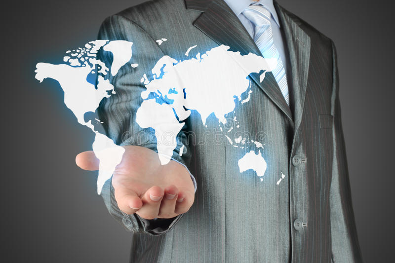 Download Businessman Uses Virtual Map Stock Photo - Image: 35006580