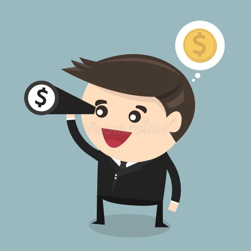 Businessman using binoculars , vector, flat design royalty free illustration