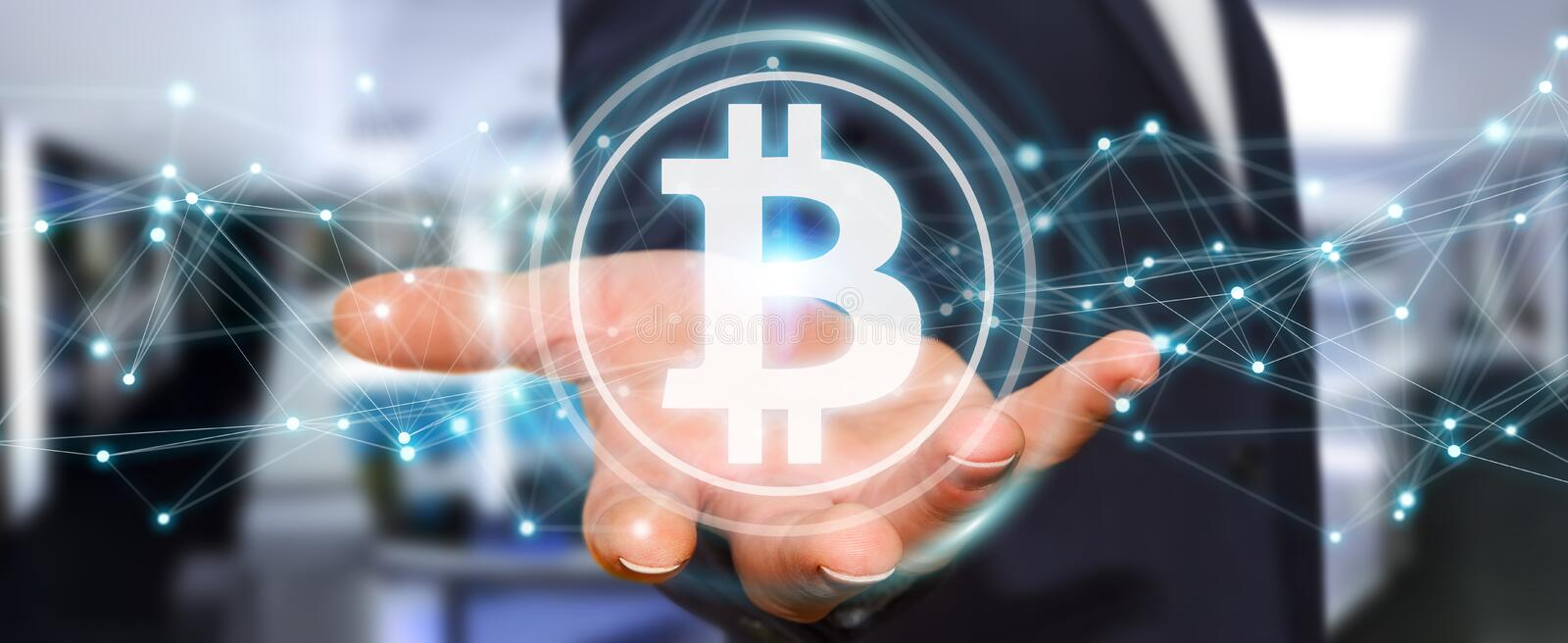 Businessman using bitcoins cryptocurrency 3D rendering. Businessman on blurred background using bitcoins cryptocurrency 3D rendering stock illustration