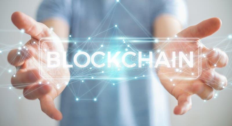 Businessman using blockchain cryptocurrency interface 3D renderi. Businessman on blurred background using blockchain cryptocurrency interface 3D rendering stock illustration