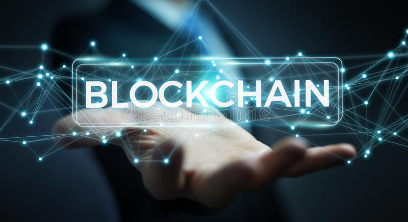 Businessman using blockchain cryptocurrency interface 3D renderi. Businessman on blurred background using blockchain cryptocurrency interface 3D rendering royalty free illustration