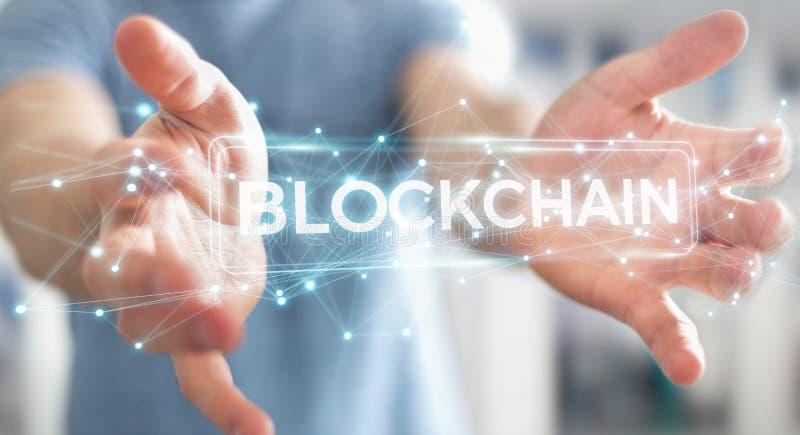 Businessman using blockchain cryptocurrency interface 3D renderi. Businessman on blurred background using blockchain cryptocurrency interface 3D rendering vector illustration