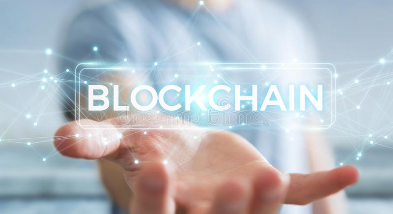 Businessman using blockchain cryptocurrency interface 3D rendering. Businessman on blurred background using blockchain cryptocurrency interface 3D rendering stock illustration