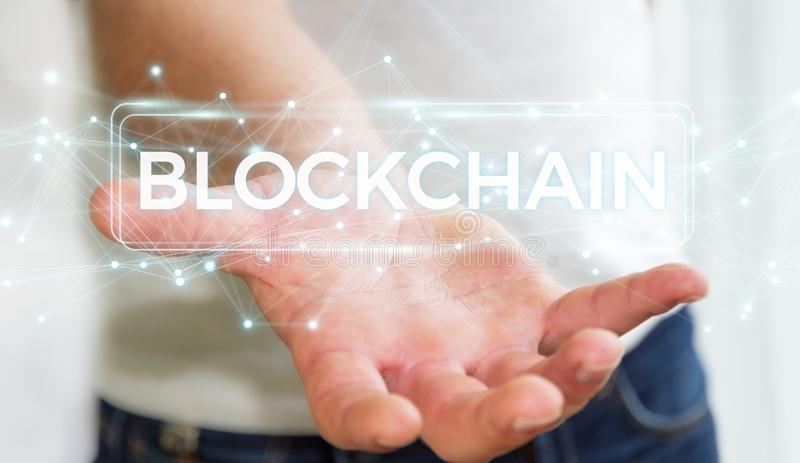 Businessman using blockchain cryptocurrency interface 3D rendering. Businessman on blurred background using blockchain cryptocurrency interface 3D rendering royalty free illustration
