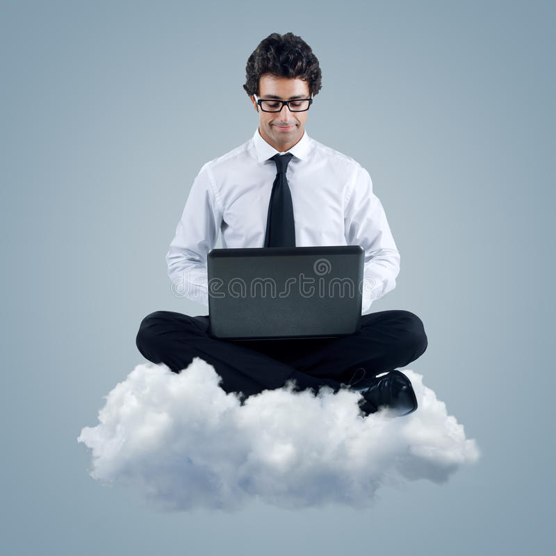 Businessman using cloud computing technology royalty free stock photography