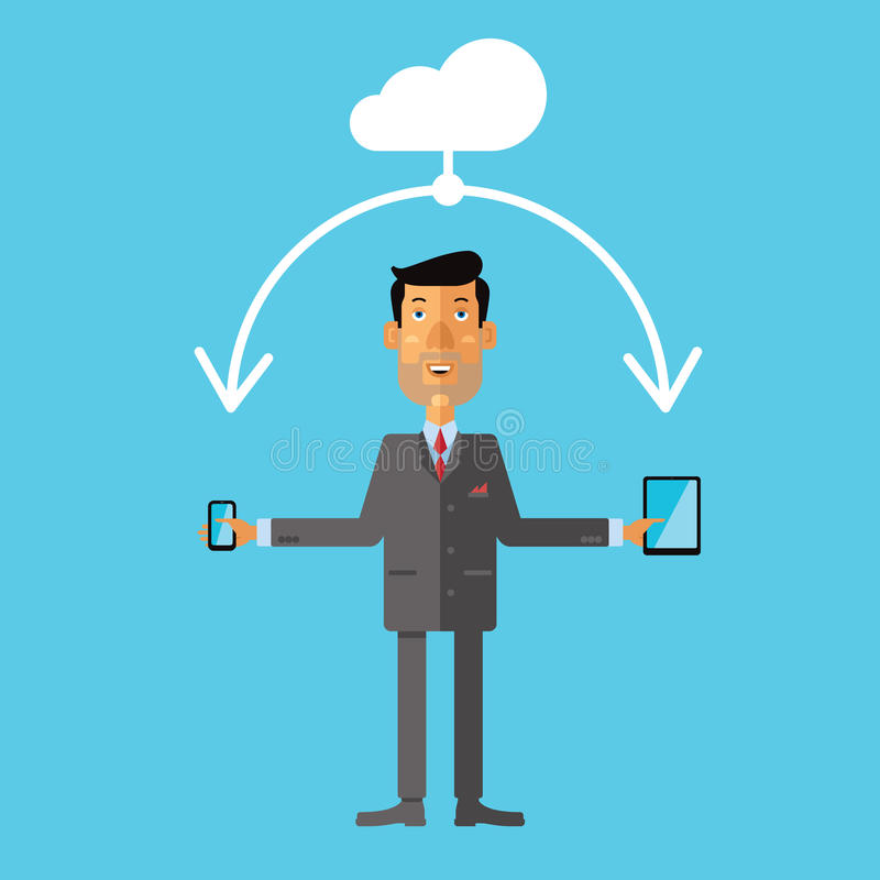 Businessman using cloud storage for smartphone and tablet. Vector illustration royalty free illustration