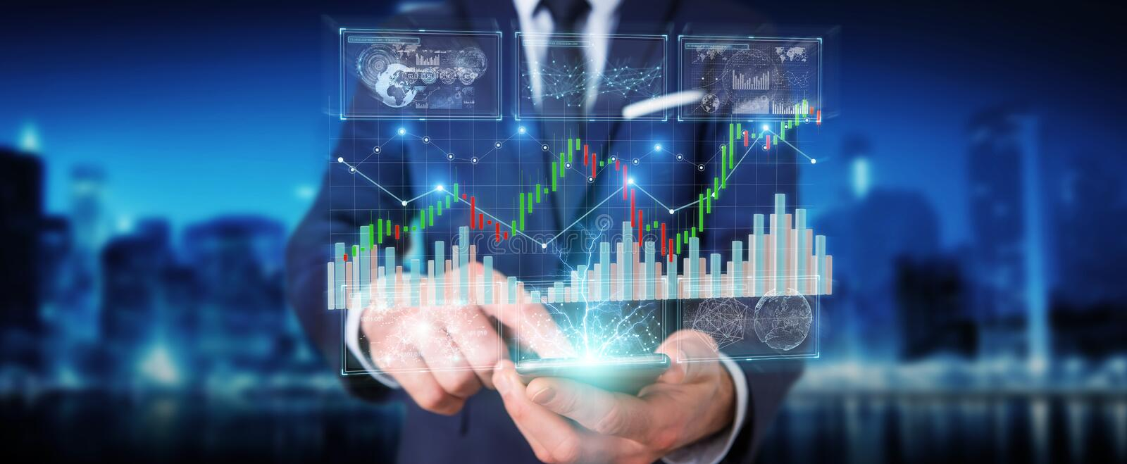 Businessman using 3D rendering stock exchange datas and charts royalty free illustration
