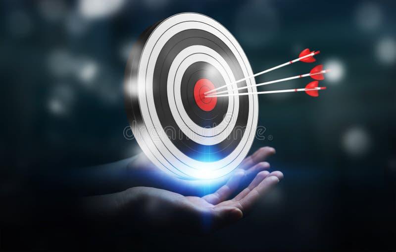 Businessman using 3D rendering target. Businessman on blurred background using 3D rendering target stock illustration