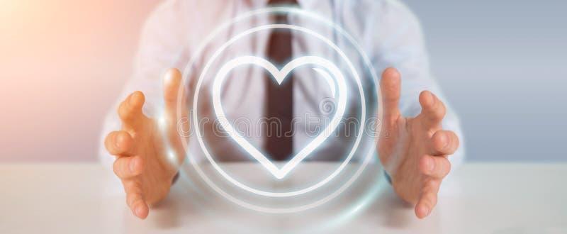Businessman using dating application to find love online 3D rend. Businessman on blurred background using dating application to find love online 3D rendering vector illustration