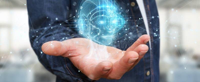 Businessman using digital artificial intelligence head interface 3D rendering. Businessman on blurred background using digital artificial intelligence head stock illustration
