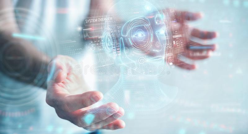 Businessman using digital artificial intelligence head interface 3D rendering. Businessman on blurred background using digital artificial intelligence head vector illustration