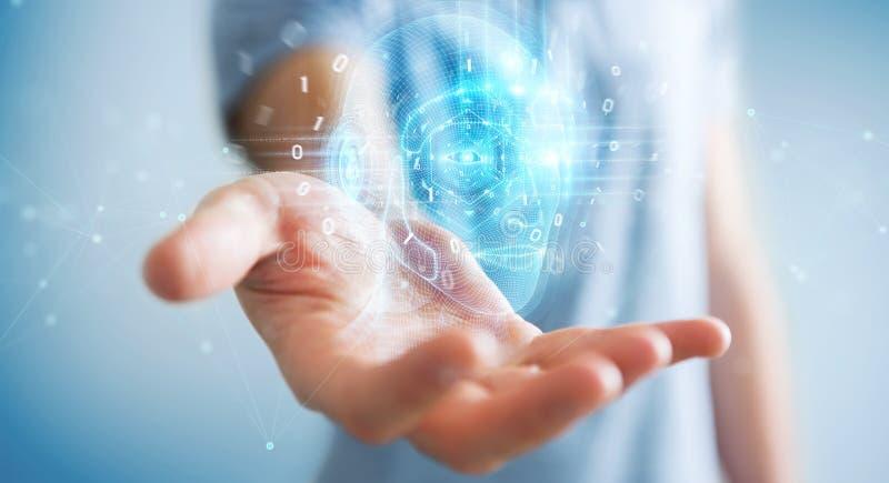 Businessman using digital artificial intelligence head interface 3D rendering. Businessman on blurred background using digital artificial intelligence head royalty free illustration