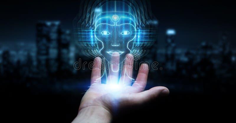 Businessman using digital artificial intelligence head interface 3D rendering. Businessman on dark background using digital artificial intelligence head vector illustration