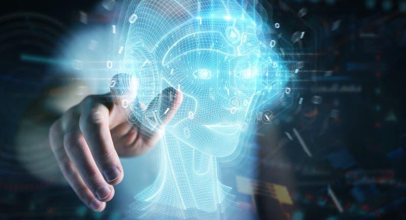 Businessman using digital artificial intelligence head interface 3D rendering. Businessman on dark background using digital artificial intelligence head royalty free illustration