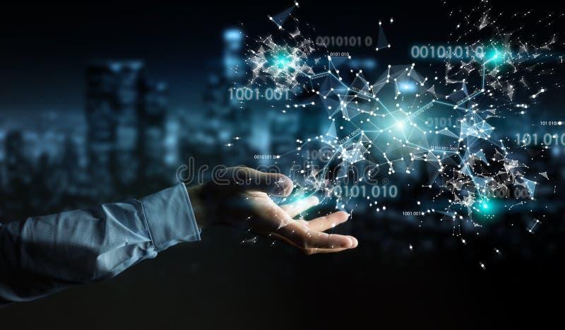 Businessman using digital binary code connection network 3D rend vector illustration