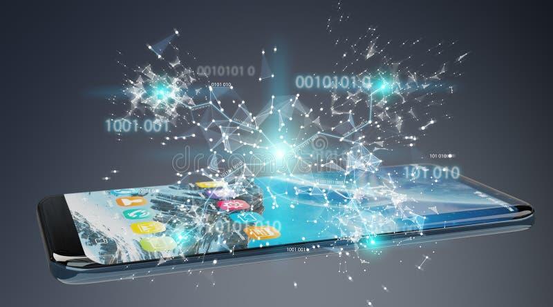 Businessman using digital binary code on mobile phone 3D renderi vector illustration
