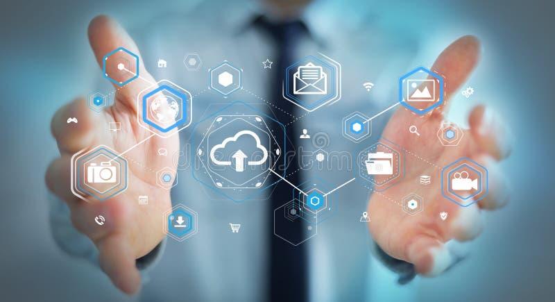 Businessman using digital cloud interface 3D rendering vector illustration